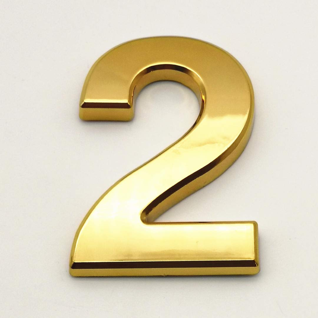 2 Pcs 4 Inch House Numbers 2, Self-Stick Gold Address Sign Number Stickers for (Mailbox Post, Apartment Door, Outside, Yard), Metal Shiny, by Sureyear.(4 Inch - NO.2, Gold)