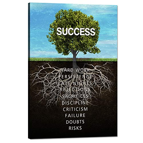 Success Tree Wall Art Inspirational Painting on Canvas Motivation Entrepreneur Quotes Pictures Posters and Prints Artwork Modern Inspirng Office Decor Living Room Gym Decorations Framed (12