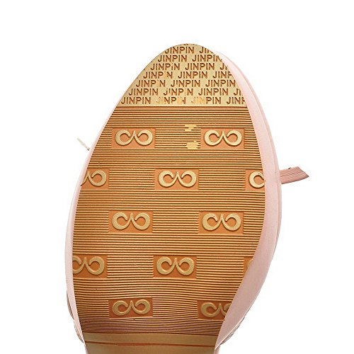 VogueZone009 Women's Soft Material Round Closed Toe High-Heels Buckle Solid Sandals Pink p8OBwvv40