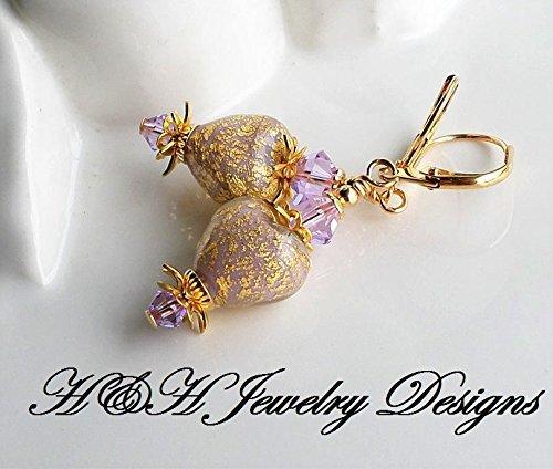 Purple Heart Murano Glass Dangle Earrings by H&H Jewelry Designs