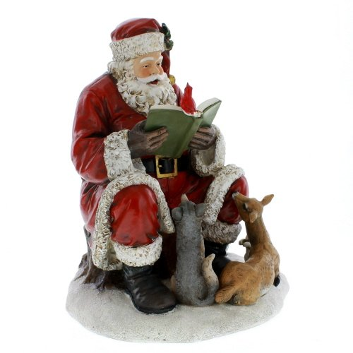 Santa Claus with Animal Friends 10 x 12.5 Inch Resin Christmas Tabletop Figurine