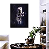 "Anyangeight Galaxy Fashion Stickers Wall Astronaut in Outer Space Stardust Nebula in Milky Way Cosmonaut Apollo Art Stickers Wall Home 16""x20"" White Dark Blue"