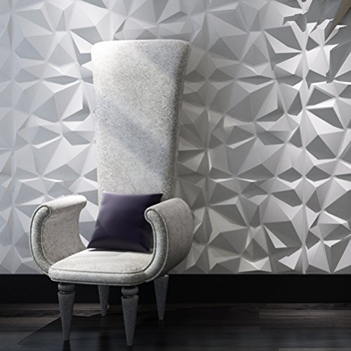 Art3d Decorative 3D Wall Panels Diamond Design Pack of 12 Tiles 32 Sq Ft (Plant Fiber) - Home Interior Decor