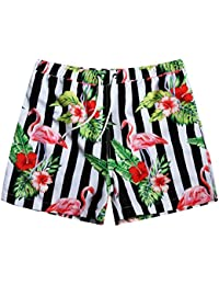 Mens Quick Dry Flamingo And Floral Short Swim Trunks With Mesh Lining