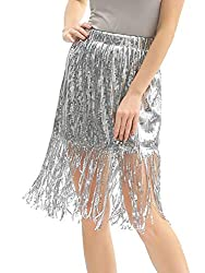 Sequin Skirt Sparkly with Sequin Tassel
