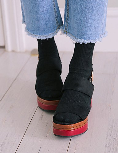 LFNLYX Zapatos de mujer-Tacón Cuña-Cuñas / Creepers / Punta Cuadrada / Punta Abierta-Sandalias-Vestido-Microfibra-Negro Black