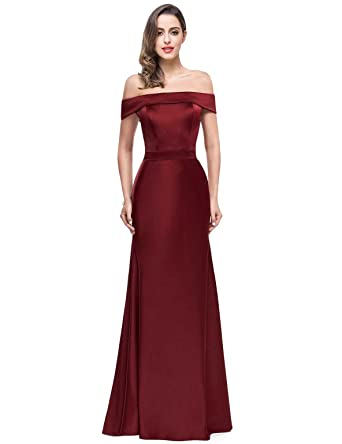 eb5b6b0d48 PLMS Women s Off The Shoulder Satin Prom Dresses Long Formal Gowns for  Women Burgundy 2