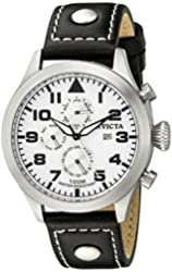 """Invicta Men's 0351 """"II Collection"""" Stainless Steel Watch with Leather Band"""