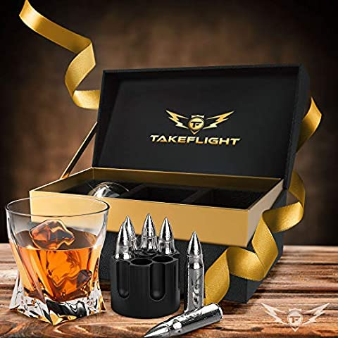 Whiskey Glasses and Whiskey Bullets – Premium Whiskey Glass Set, 2 Glasses for Scotch or Bourbon in Gift Box   Stainless…