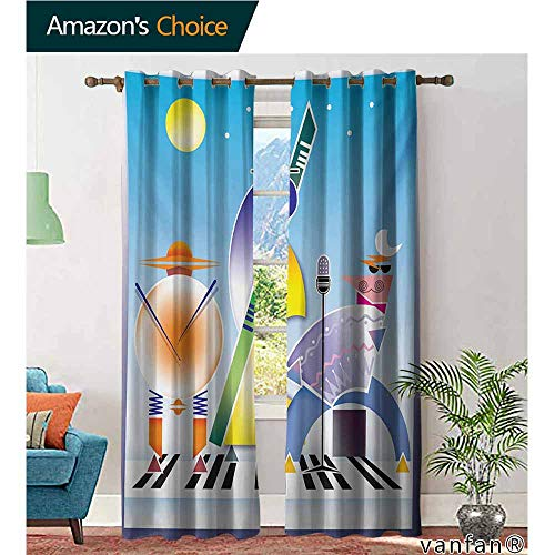 Big datastore Kid Room Custom Curtains,MusicAbstract Band of Geometric Shapes Drums Accordion Performing on Keyboard Surface,Set of 2 Pieces,Multicolor,W108 xL108