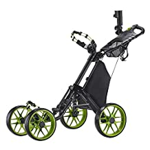 Caddytek One Click Folding 4 Wheel Golf Push Cart, Version 3 (Lime) - Front Wheel Alignment Mechanism - Scorecard Holder Integrated with STORAGE COMPARTMENT, BEVERAGE HOLDER and MESH NET - Umbrella Holder and Storage Rack INCLUDED