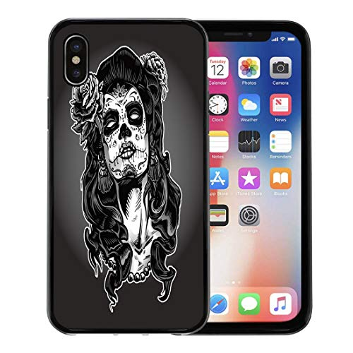 Semtomn Phone Case for Apple iPhone Xs case,Gray Tattoo Woman Sugar Skull Face Paint Dead Day Zombie Halloween for iPhone X Case,Rubber Border Protective Case,Black -