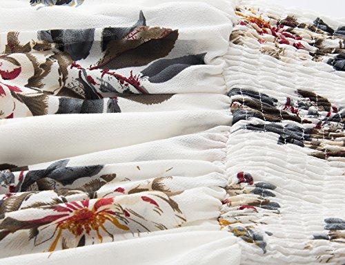 Yidarton Mujer Vestido Largo Boho Sin Mangas Maxi Vestido De Impresión Floral De Playas Verano blanco