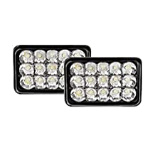 """Benson USA 1pr4x6-C Rectangular LED Headlight Bulb Sealed Beam Replace HID Xenon H4651, H4652, H4656, H4666, H6545 Projector lens Fit for Peterbilt Kenworth Freightliner, 4"""" H, 6"""" W, Chrome, 2 Piece"""