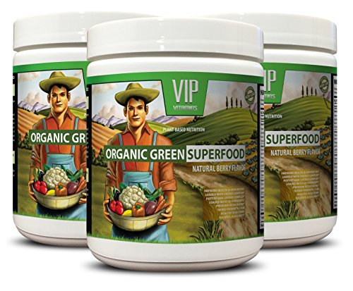 parsley leaves - ORGANIC GREEN SUPERFOOD NATURAL BERRY FLAVOR - diuretics for weight loss 3 Cans 90 Serving 276 Grams 9. 7 Oz each by VIP VITAMINS