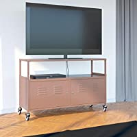 Tuscany Metal Lockable Tv Stand Cabinet Media Storage With Rolling Casters , Light Brown