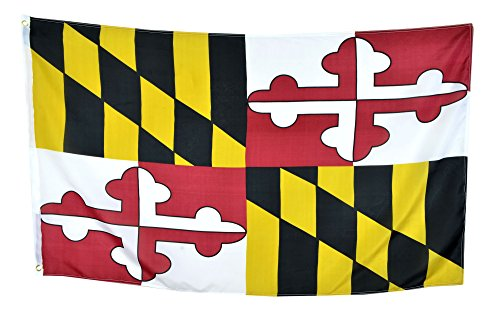Shop72 US Maryland State Flags - Maryland Flag - 3x5' Flag From Sturdy 100D Polyester - Canvas Header Brass Grommets Double Stitched From Wind Side