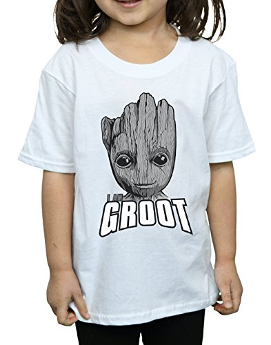 Of Blanc T Guardians Face Groot shirt Fille The Galaxy Marvel qUERzx0