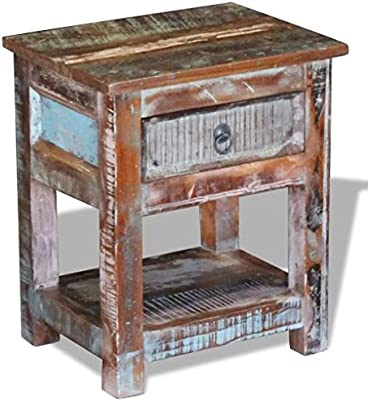 """Side Table with 1 Drawer Solid Reclaimed Wood 17""""x13""""x20"""" Home Accents solid Furniture Comfyleads"""