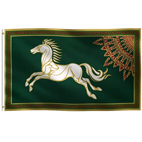 K-AXIS 3x5 Foot LOTR Rohan Inspired Flag: 100% Polyester Banner, Strong Canvas Header with 2 Brass Grommets, UV Resistant Vibrant Digital Print, for Use Outdoor or Indoor