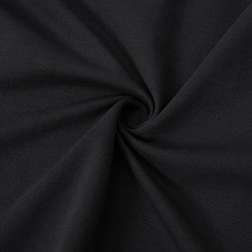 Bulotus Womens Long Sleeve Cotton Plain Plus Size A-line Casual Winter Dress Black XXL