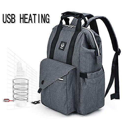 UTO Diaper Bag Backpack USB Heating Multi-Function Large Cap