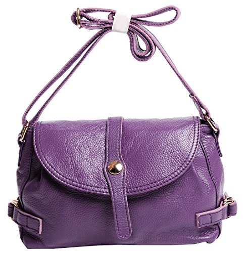 Bag Hotwt Cross Handbag Motorcycle Body Shoulder Retro Leather Style Soft Women��s Violet Genuine wwBq8Z