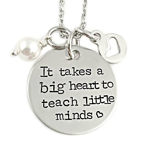 Teacher Necklace Gift - It Takes A Big Heart To Teach Little Minds - Hand Stamped Jewelry