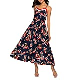 Uscharm Womens Spaghetti Strap Casual Sleeveless Boho Flower Print Beach Party Wedding Long Loose Dress (Blue, XL)