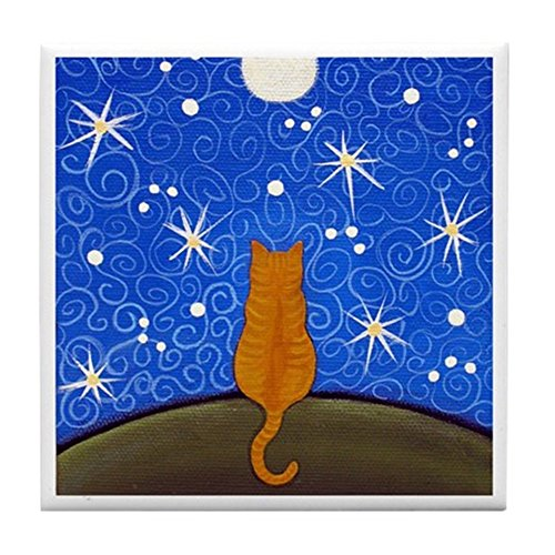 CafePress - Dark Orange Tabby CAT Starry Night Moon ART Tile - Tile Coaster, Drink Coaster, Small Trivet ()