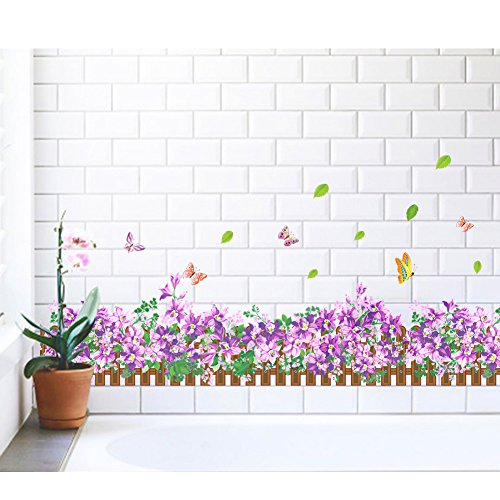 Amaom® Removable Beautiful Purple Flowers and Butterfly Skirting Wall Decals Murals Home art Decor Peel Stick Wall Stickers for Wall Corner Kids room Bedroom Living room Decorations