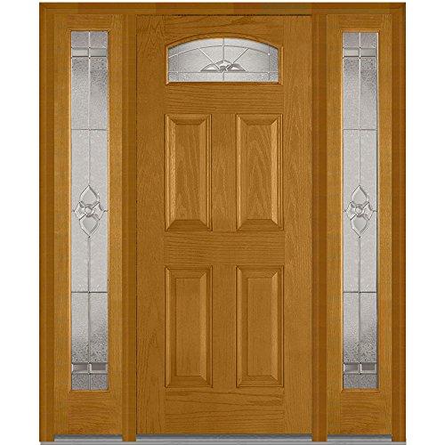 National Door Company Z014118L Fiberglass Oak, Fruitwood, Left Hand In-swing, Exterior Prehung Door, Master Nouveau 1/4 Lite 4-Panel, 36''x80'' with 12'' Sidelites by National Door Company