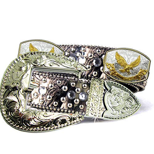 - Green Camo Fabric Bling Rhinestone Nail Studded Golden and Silver Conchos Cowgirl Camouflage Clear Crystal Belt for Women (Eagle Conchos with Bull Buckle)