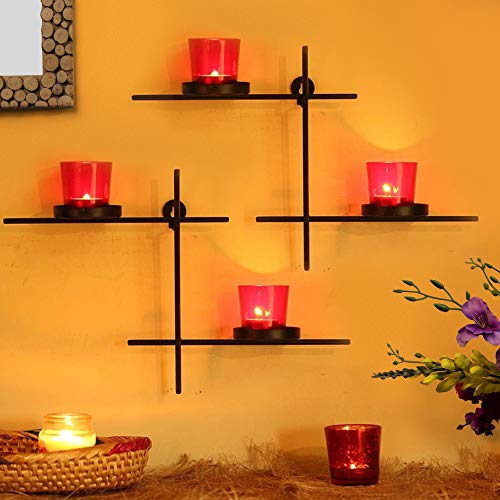 TIED RIBBONS Set of 2 Wall Hanging Tealight Candle Holder with 4 Tealight Glasses for Christmas Light Decoration(Black and Red)
