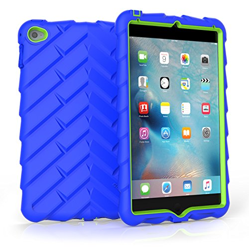 Gumdrop Cases Droptech for Apple iPad Mini 4 (Late 2015) A1538 A1550 Rugged Tablet Case Shock Absorbing Cover, Royal Blue / Lime