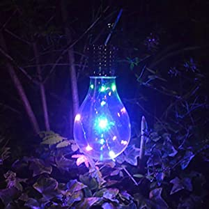 Solar Garden Hanging Light Bulb, Backyard Patio Lights Indoor/Outdoor String Light for Bistro Pergola Deckyard Tents Market Cafe Gazebo Porch Letters Party Decor (Colorful)