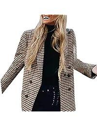Fashion Women Plaid Blazer Coat Retro Stripe Print Button Shoulder Pads Suit Coats Sunmoot