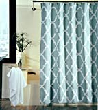 Shower Curtain Moroccan Tile Quatrefoil Spa Blue & White