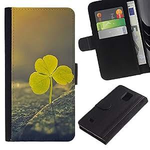 LASTONE PHONE CASE / Lujo Billetera de Cuero Caso del tirón Titular de la tarjeta Flip Carcasa Funda para Samsung Galaxy Note 4 SM-N910 / Irish st Patrick's day green vignette clover