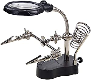 Magnifying Glass with Light and Stand - Buqikma 3.5X 12X Desktop Magnifier Adjustable Helping Hand LED Light with Clamp and Alligator Clips for Soldering, Crafting and Inspecting Micro Objects