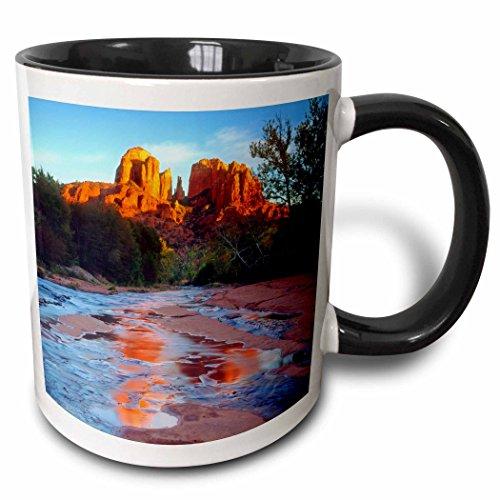 3dRose Danita Delimont - Streams - USA, Arizona, Sedona. Cathedral Rock reflects in Oak Creek at Sunset. - 15oz Two-Tone Black Mug (mug_208335_9)