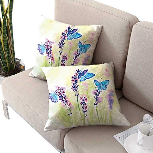 Natural Outdoor Lighthouse Accent (warmfamily LavenderDouble-Sided Printing PillowcaseSummer Field Natural Wildlife Themed Watercolor Artwork with Butterfliesoutdoor Pillow Covers 24