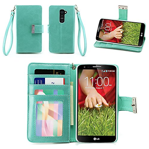 IZENGATE Executive Premium PU Leather Wallet Flip Case Cover Folio Stand for LG G2 (Sprint & T-Mobile Only) (Mint) (Beautiful Lg G2 Phone Cases)
