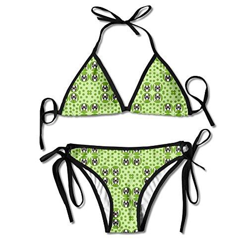 3D Flower Print Extra Dotty Goat Kid Polka Dot Fabric (5768) Custom Sexy Beach Swimwear Women's Triangle Bralette Bikini Set Of 2 ()