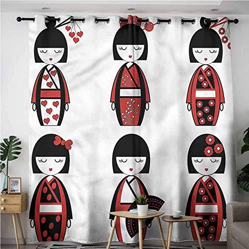 XXANS Grommet Curtains,Girls,Geisha Dolls Folkloric,Blackout Window Curtain 2 Panel,W108x108L