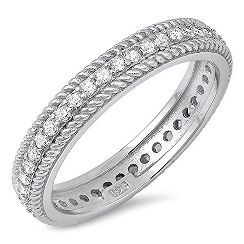 Rope Chain Design Clear CZ Wedding Ring New .925 Sterling Silver Band Size 8 (Band Rope Ring Design Wedding)