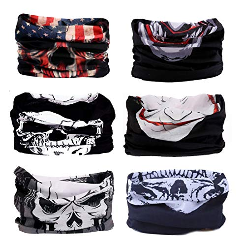 Sun Face Design - FAYBOX 6pcs Magic Wide Wicking Headbands Men Women Outdoor Headwear Bandana Sports Scarf Tube UV Face Mask Workout Yoga Running