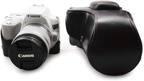 kinokoo Estuche para Canon EOS SL2 / SL3 y lentes de 18-55 mm, funda protectora Canon EOS 250D / 200D / 200D II PU cuero (negro): Amazon.es: Electrónica