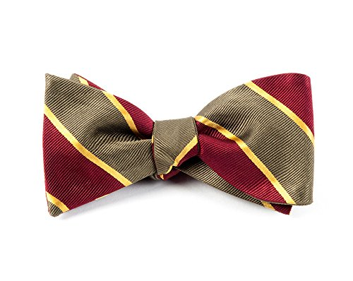 100% Woven Silk Olive and Burgundy Striped Self-Tie Bow (Silk Striped Bowties)