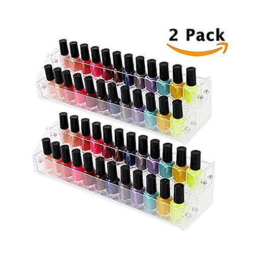 Acrylic Nail Polish Organizer, Makeup Holder Storage Brochure Rack Display for Eye Shadow Collection Essential Oil Liquid Paint, 2 Tiers 2 - Eye Collection Essential
